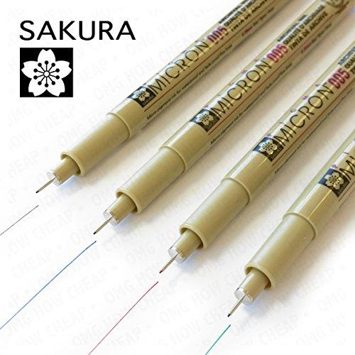 Sakura Pigma Micron–Pigment Fineliner–Pack von 4 – Nr.005 0.20mm–schwarz, blau, rot und grün