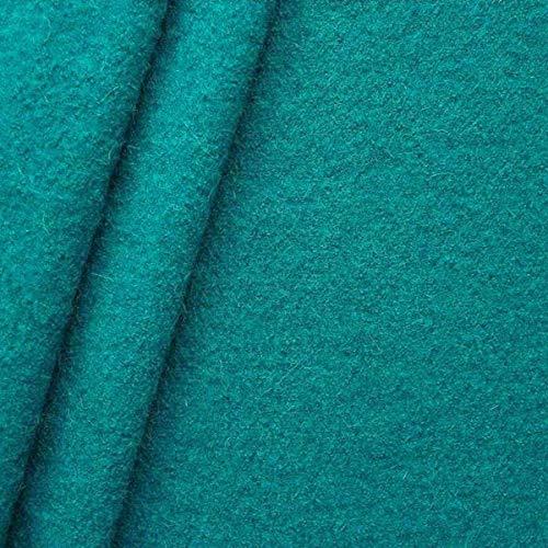 STOFFKONTOR Walkloden Stoff, Wollstoff Meterware aus 100% Wolle, Petrol