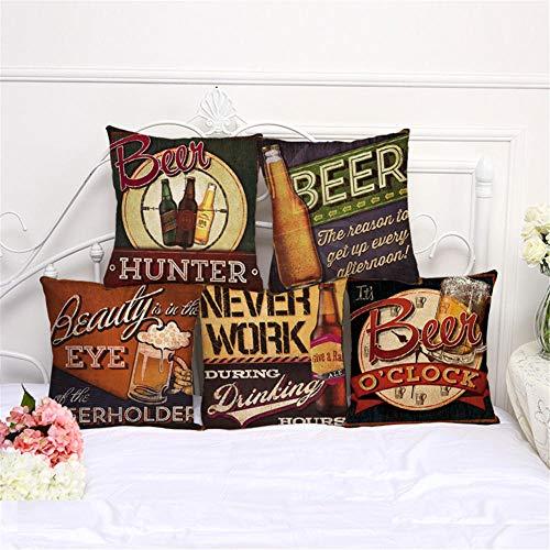 MBWLKJ Juego de 5 fundas de cojín decorativas de 45 x 45 cm, diseño vintage de cerveza, de algodón y lino, para sofá, coche, dormitorio, decoración (patrón de dos caras)