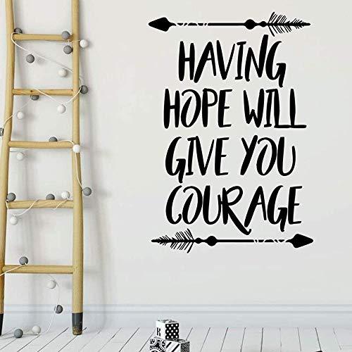 Calcomanías de pared con texto artístico, la esperanza te dará coraje, pegatinas de vinilo para ventanas, dormitorio de niños, guardería, decoración para el hogar, papel tapiz