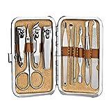 Juego de cortaúñas profesional de belleza para mujeres y adultos, 10 juegos de manicura de acero inoxidable con maletín de lujo cortaúñas profesio