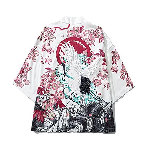 WYUKN Chaqueta Haori Hombre, Trajes Tradicionales Japoneses Orientales Hombres Moda Kimono Haori Cárdigan para Mujer Verano Chaqueta Fina Ropa de Playa,White-Medium