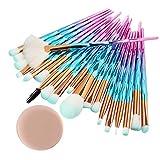Make Up Pinsel Set 20pcs Einhorn Pinsel Schminkpinsel Kosmetikpinsel Lidschatten Gesichtspinsel Foundation Eyeliner Pinsel mit Make-up Schwamm