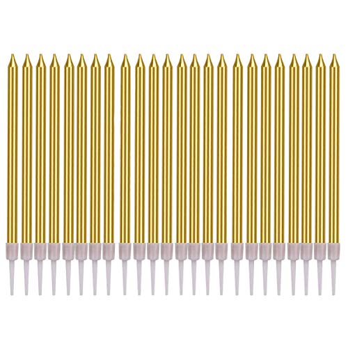 BSTHP Birthday Cake Candles, 24Packs Gold Pencil shape Cupcake Candles for Wedding Party Decoration