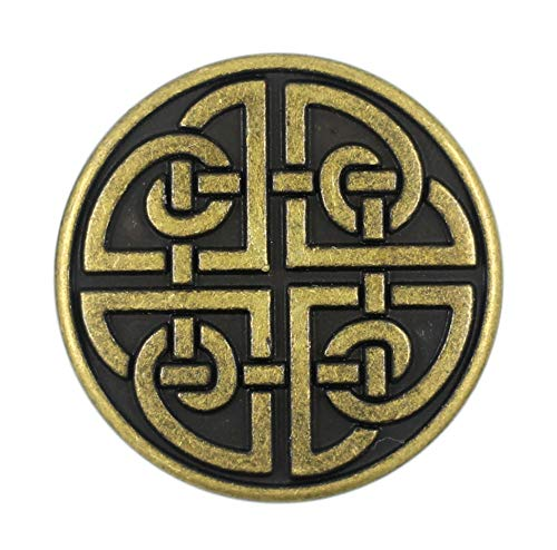 Bezelry 10 Pieces Celtic Shield Knot Metal Shank Buttons. 25mm (1 inch) (Antique Brass)