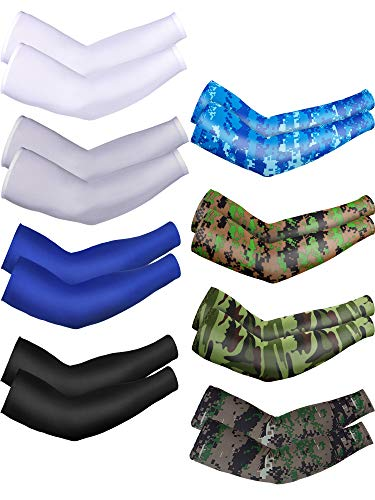 8 Pairs Unisex UV Protection Arm Cooling Sleeves Ice Silk Arm Cover (Black, White, Grey, Royal blue, Camouflage, Army Green Camouflage, Blue camouflage, Green camouflage, Ice Silk)