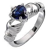 UPCO Jewellery Plata Esterlina, Piedra Claddagh Irlandesa del Mes de Septiembre Zafiro Azul Engarzado De 9mm 2ct del...