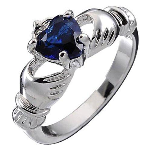 GWG Jewellery Anillos Mujer Regalo Anillo de Claddagh Plata de Ley Dos Manos Que Rodean Corazón de Circonita de Color Zafiro Azul con Corona - 7 para Mujeres