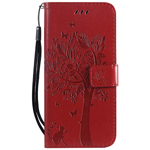 Mobile Phone Cover Magnetic Clasp PU Leather with Stand Function Cat and Tree Embossed TPU Bumper with Detachable Wrist Strap Fit for Huawei P30 Lite/Nova 4e