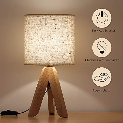 Kleine Tischlampe, Einfacher Stil Nachttischlampe mit Leinen Lampenschirm, Holzstativ Nachtlicht für Kinderzimmer, Schlafzimmer, Wohnzimmer, Büro