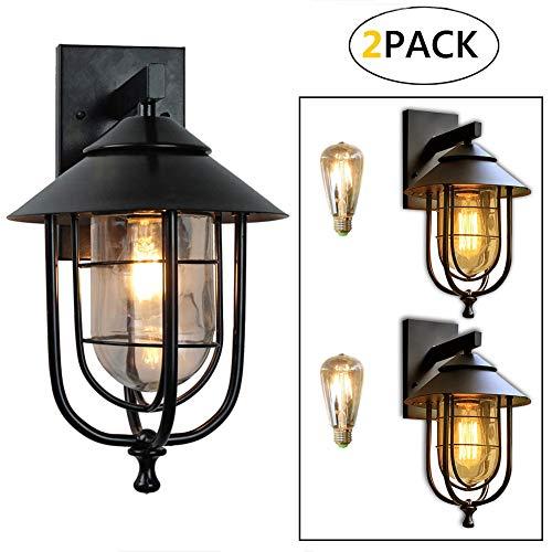2 Pack Rustikale Außenwandleuchte Außen-Wandleuchte, Antik Wandlampe IP44 Wasserdichte Vintage Außenlampe für Balkon Treppen Terrasse Garten, E27-Fassung, Max. 60W, Schwar