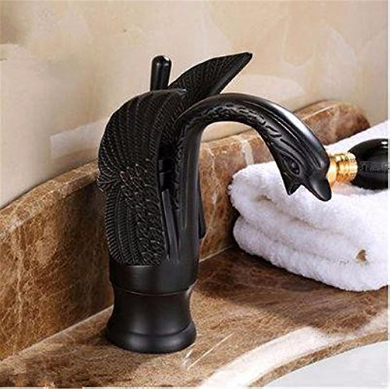 Bijjaladeva Wasserhahn Bad Wasserfall Mischbatterie WaschbeckenAntike Swan Form Kaltes Wasser Keramik Ventil Einloch Einzigen Griff Badezimmer Waschtisch Armatur Schwarz Niedrige