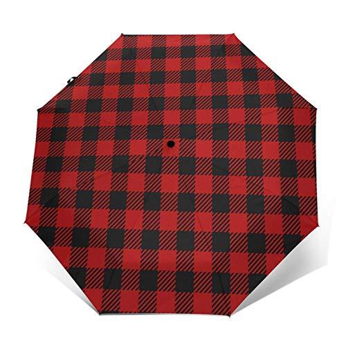 Paraguas automático de tres pliegues negro a cuadros sobre fondo rojo, protector solar impermeable, resistente al viento, resistente al viento, plegable, paraguas para hombre y mujer al aire libre