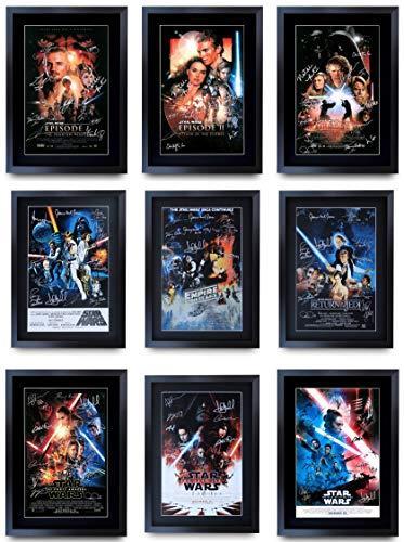HWC Trading, A3, incorniciato, Star Wars Poster della Collezione cinematografica con firme del Cast Stampa con autografi, per Regalo, Stampa Fotografica, Saga Completa: Tutti i 9