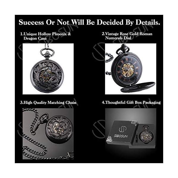 SIBOSUN Pocket Watch Personalized Engraved Mechanical MOM to Son Birthday Graduation Dragon Phoenix