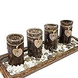 Urhome Teelichthalter Set auf Holz Tablett Tischdeko Advent Kerzenhalter Tischdeko für stimmungsvolle Weihnachten Deko Teelichter - 3