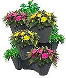UPP Pflanzturm mit stapelbaren Pflanztöpfen | Vertikaler Garten mit 3 Etagen | Platzsparend für bis zu 9 Pflanzen & Kräuter [Anthrazit]