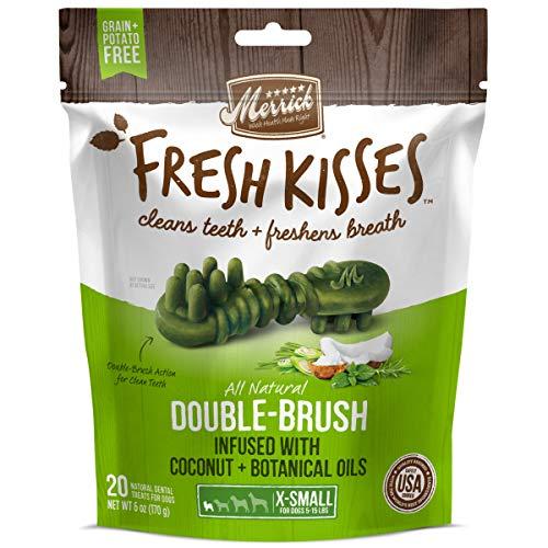 Merrick Fresh Kisses Coconut + Botanical Oils Dental Dog Treats For Toy Breeds - 20 ct. Bag