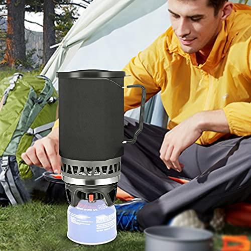 InLoveArts Camping Camping Batería Kit con Quemador y Estufa, Alta eficiencia, Alto Calor, 1400 ml Camping portátil de Utensilios de Cocina, Cuenco, Estufa de Gas, propano, al Aire Libre
