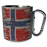 Norwegen-Flagge nagelneues Geschenk Edelstahl Karabiner Reisebecher 11oz Becher Tasse g213c