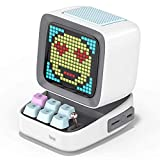 Divoom Ditoo Pixel Art Gaming Portable Bluetooth Speaker with App Controlled 16X16 LED Front Panel, Also a Smart Alarm Clock (White)