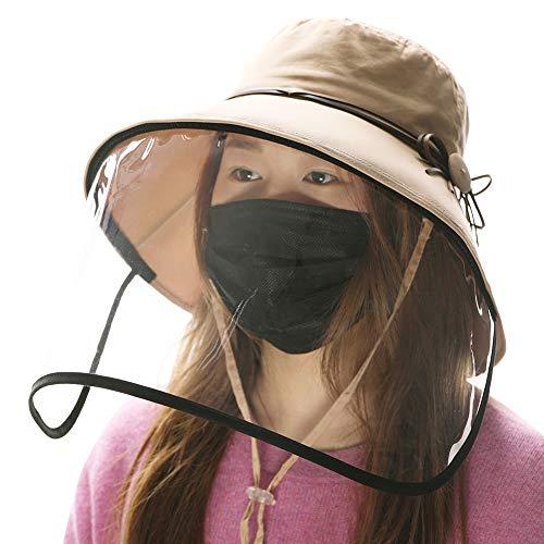 Fancet Womens Wide Brim Packable Summer Sun Bucket Hat with Transparent Protective Face Shield Beach Safari Hiking Bow Fishing Bonnie(Medium, 69046#Khaki)