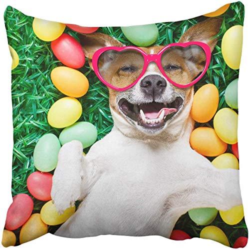 Quadratische Wurfs-Taillen-Kissen-dekoratives Kissen-Kissen lustiger Jack Russell-Osterhasen-Hundeabnutzungs-Sonnenbrille Wurfs-Kissen mit verstecktem Reißverschluss für Schlafzimmer-Dekor-Sofacouch