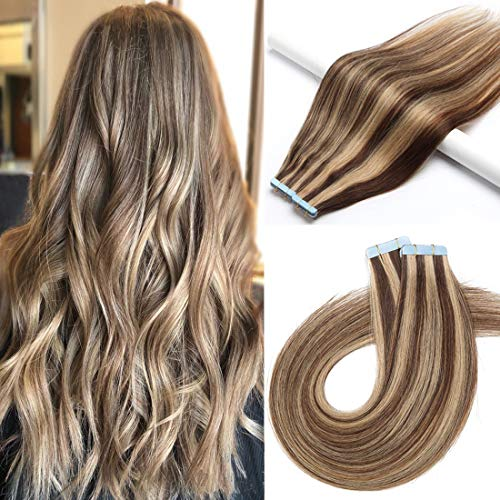 S-noilite 40 Pcs 100g Balayage Rooted Tape in Human Hair Extension for Women Glue in Remy Human Hair Piece Seamless Skin Weft Invisible Double Sided Tape 22 Inch (#4P27 Medium Brown/Dark Blonde)