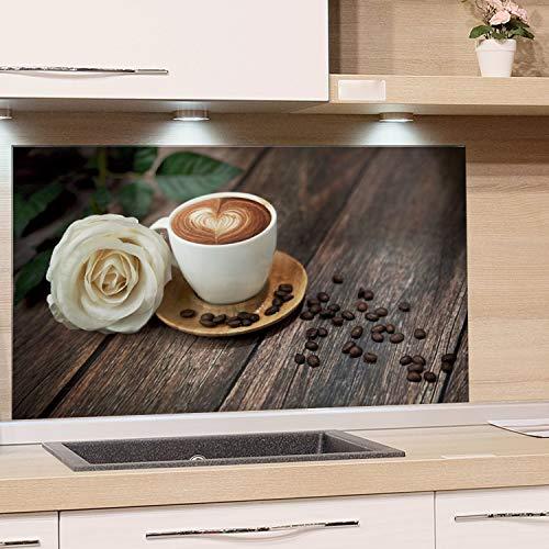 GRAZDesign Glasbilder Kaffee mit Rose - Glaswand Küche Holzoptik - Küchenrückwand Glas braun / 100x60cm