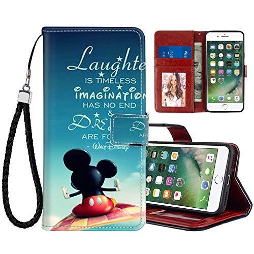 DISNEY COLLECTION Funda tipo cartera para iPhone 7/8/SE2 de piel sintética de Disney Mickey Mouse con soporte magnético para tarjetas de crédito con correa de mano, soporte para mujeres y niñas