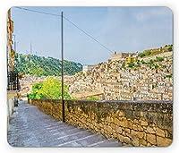 シチリア様式の長方形のマウスパッド、市内の歴史的な建築ヨーロッパを見下ろすモディ??カの階段、滑り止めのゴム製バッキングマウスパッド、多色