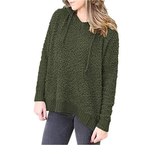 Kabxryaclo Suéter para mujer, liso, manga larga, cuello redondo, holgado, para mujer