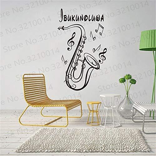 DIY Customized Saxophon Musikinstrument Wandtattoo benutzerdefinierte Kinderzimmer Name Kinderzimmer Mädchen Junge Schlafzimmer Dekoration