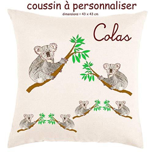 Coussin avec sa Housse Toucher très Doux Koala Personnalisable avec un Prénom Exemple Colas