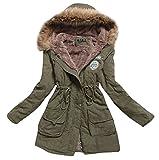 Aro Lora Mujer Piel sintética de Invierno cálido con Capucha Cotton-Padded Abrigo Parka Larga Chaqueta - Verde - S