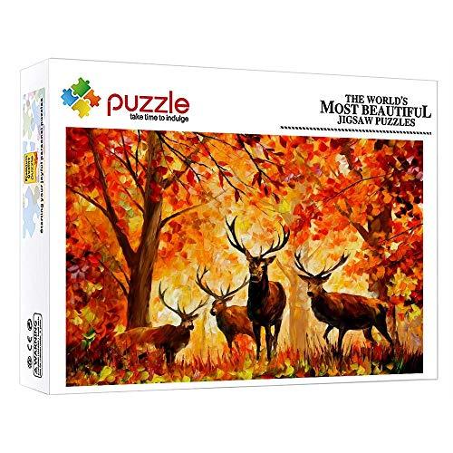 FFGHH Puzzles Adultos 1000 Piezas Mini Puzzles Jigsaw Puzzle para Adultos Niño Niña Niños Puzzle 1000 Piezas Ciervo Piezas 14.96In X 10.23In