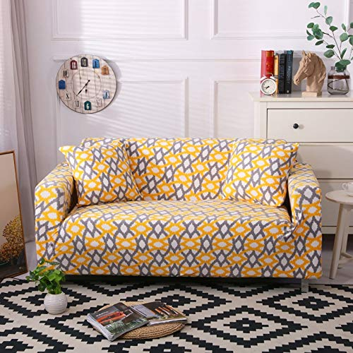 ASCV Funda de sofá Moderna geométrica a Prueba de Polvo elástica Flor sofá Toalla Muebles de Sala Cubierta Protectora A4 3 plazas