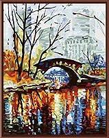 キャンバス抽象絵画橋にデジタル手描きの油で新しい家の装飾フレームレス絵画写真 40×50cm