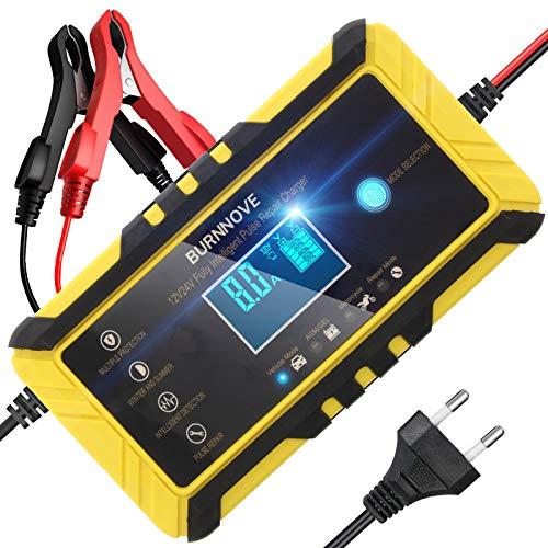 BURNNOVE Cargador de Batería Inteligente 8A 12V/24V Reparación del Cargador Batería Mantenimiento de Función Auto con Modo de Reparación LCD Altamente Compatible Batería de Plomo-Ácido