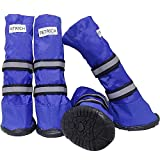 URBEST Dog Shoes, Waterproof Dog Boots, Warm Lining Nonslip Rubber Sole for Snow Winter (L, Blue)