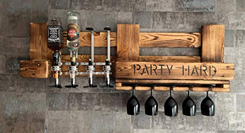 Personalisierte WANDBAR, Regal mit 4 Getränkespender, Schnaps Dosierer Proportionierer,für Cocktail´s, Gin, Longdrinks im Industrial Vintage Landhaus Stil, Hausbar Butler, Weinregal aus Palettenholz