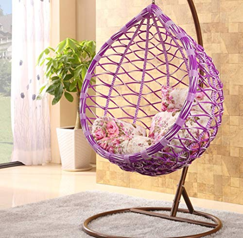 Afjyar Large bird's nest hanging chair wicker chair outdoor balcony living room leisure wicker chair hanging basket hanging chair purple