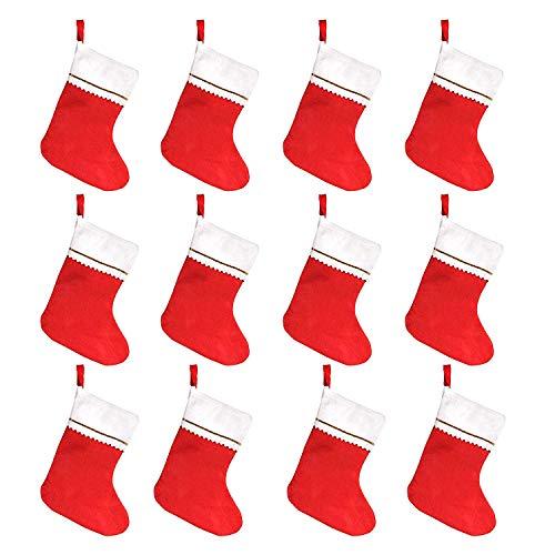Medias de Navidad de fieltro rojo de 35,56 cm para decoración de Navidad