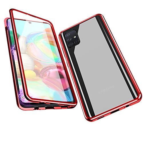Jonwelsy Funda para Samsung Galaxy A51, Adsorción Magnética Parachoques de Metal con 360 Grados Protección Case Cover Transparente Ambos Lados Vidrio Templado Cubierta para Samsung A51 (Rojo)