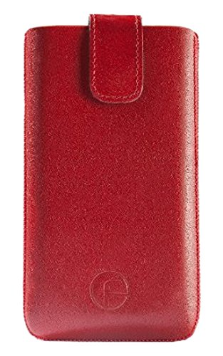 Favory Echt Ledertasche mit Rückzugsfunktion für das Huawei Ascend G525 Dual-SIM in rot