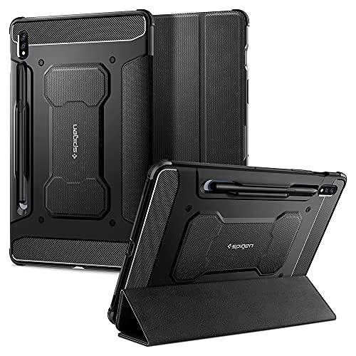 Spigen Rugged Armor Pro Entwickelt für Samsung Galaxy Tab S7 Hülle mit Trifold Stand/Auto Wake/Sleep-Funktion (2020) Schutzhülle Hülle Cover - Schwarz