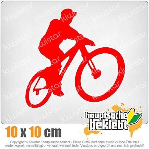 Kiwistar Mountainbiker MTB Downhill 10 x 10 cm IN 15 Farben - Neon + Chrom! Sticker Aufkleber