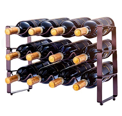 3 Tier Stackable Wine Rack, Countertop Cabinet Wine Holder Storage Stand - Hold 12 Bottles, Metal (Bronze)