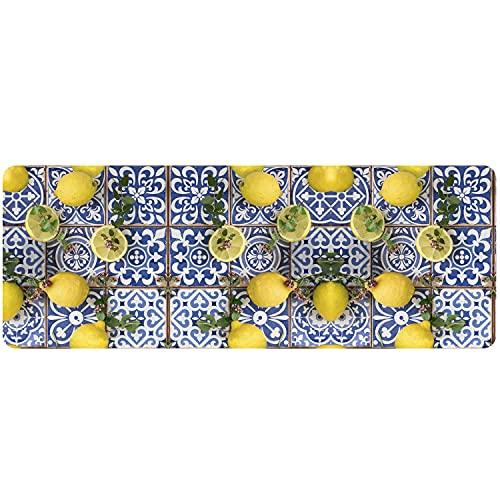 Vision - Tappeto Cucina Passatoia Antiscivolo in PVC e Gomma Espansa, Runner Design Multiuso Lavabile - Made in Italy (51 x 120 cm, Limoni)