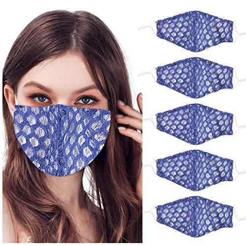 Inawayls 5 Stück Spitzengesichtsschutzabdeckungen Waschbarer atmungsaktiver Mund Gesicht Bandanas Outdoor Staubdichter Gesichtsschutzschild